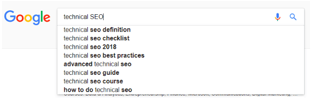Example of related keywords in Google Search