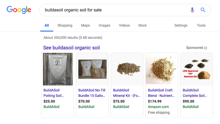 Google Shopping Network results displaying on a Google search page.